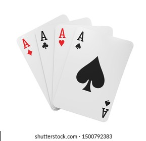 Four Aces Playing Cards Isolated. 3D rendering