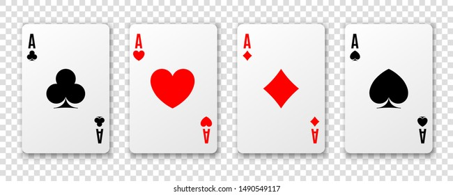 Four aces. Poker winning hand. Hearts, clubs spades and diamonds ace. Realistic card suit illustration on background
