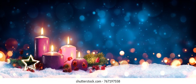 Four Advent Candles In Christmas Wreath On Snow - contains illustrations