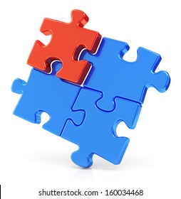Four assembling color red and blue puzzle pieces isolated on white background. Business teamwork concept.