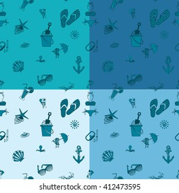 Four Background in Different Colors, Summer and Beach.
