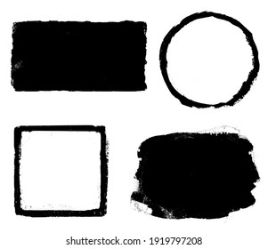 Four black watercolor figures (square, circle, rectangle) on white as background