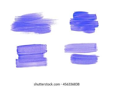 Four blue brush strokes set. Dry brush method, straight lines.