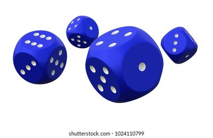Four blue dice on white background. 3D rendering