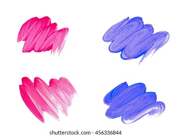 Four blue and pink brush strokes set. Dry brush method, curve lines.