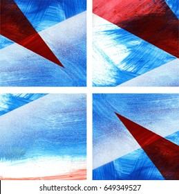 Four blue, white and red abstract backgrounds set, suprematism inspired, brush strokes and spray paint