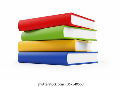 Four books stacked haphazardly on top of each other in front of a white background. The books have orange, red, blue and green covers with empty spines. Isolated on white.