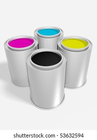 Four cans plenty of tints. Cyan, magenta, yellow and black.