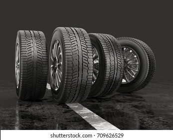 Four car tires rolling on a road on a gray background. 3d illustration.