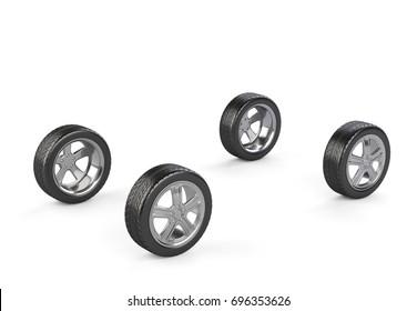 Four car wheels on a white background. 3d render illustration