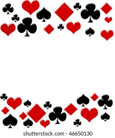 Four card suits making a border on a white background, poker background