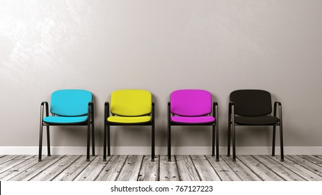 Four CMYK Colored Chairs on Wooden Floor Against Grey Wall with Copyspace 3D Illustration