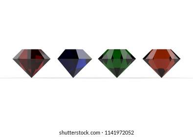 Four color gemstones orange blue green red on white background. 3D render
