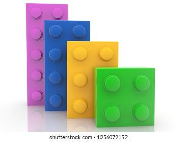 Four colorful toy bricks.3d illustration