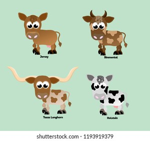 Four different breeds of cattle, each with different coat colours and horns.