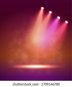Four different Spotlight on stage for your design. Colorful light.  illustration. . Raster version.