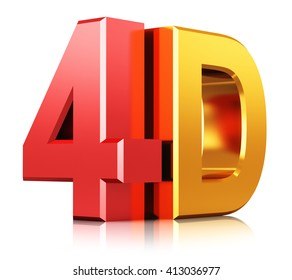 Four dimensional digital cinema industry technology concept: 3D render illustration of color shiny metallic 4D film movie sign, symbol or logo isolated on white background with reflection effect