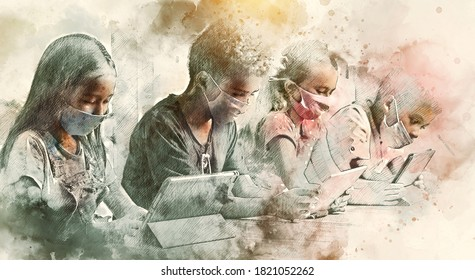 Four diverse kids wear facemasks sit at table use wireless gadgets ignoring each other prefer internet games. Alpha generation and modern technology overuse, phubbing concept. Digital watercolor image
