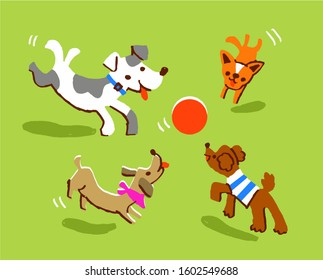 Four dogs playing with a ball