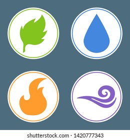 Four elements: Fire, Water, Earth, Air. Nature element stickers. Illustration for design.