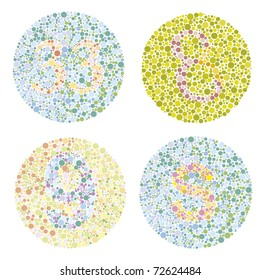 four examples of test ishihara with letters and numbers