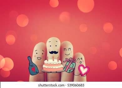 Four fingers decorated as four people having fun time. Suitable to be used for anything festivals.