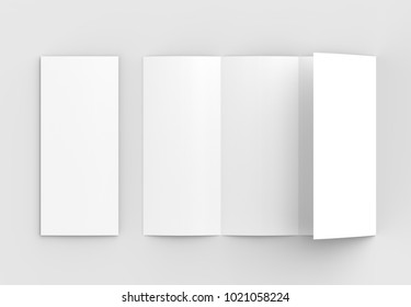 Four folded - 4-Fold - vertical brochure mock-up isolated on soft gray background. 3D illustrating