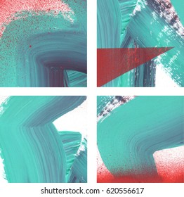 Four fragments of original abstract paintings set, contemporary art. Perfect background for text, poster for art or electronic music show. Dark aquamarine green and saturated red brush strokes, spray.