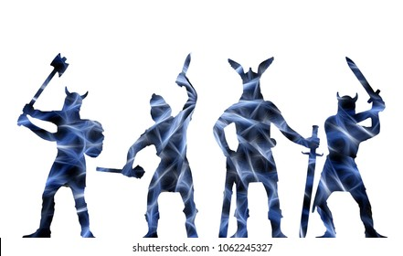 Four ghostly blue-and-black silhouettes of Old Norse Vikings-warriors, isolated on white, Old Norse myths theme, fantasy illustration, creative work in fractal pattern style