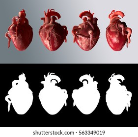 Four of Hearts. 3D Render. Illustration (highly detailed) with alpha for easy isolation. Rotated 90 degrees four times.