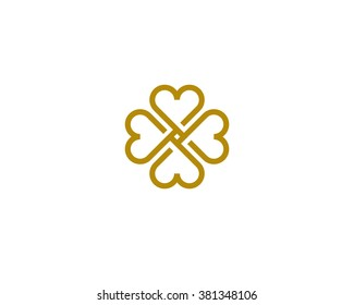 Four hearts social symbol. Heart cross logotype. Abstract line flower leaf medical logo icon sign.