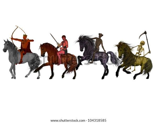 Four Horsemen Apocalypse Stock Illustration 104318585