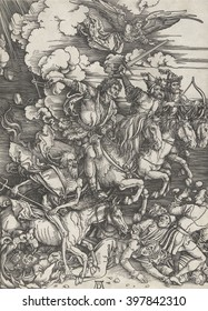 Four Horsemen of the Apocalypse, by Albrecht Durer, 1497-98, German print, wood engraving. Four men on horses armed with a bow and arrow, a sword, balance scales, and a pitchfork, trampling people