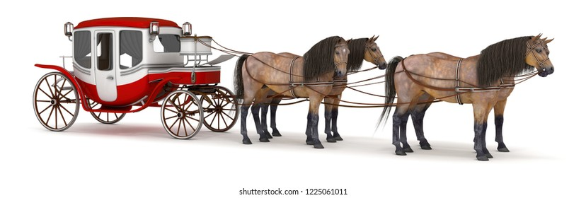 Four horses harnessed to a carriage. 3d illustration isolated on white