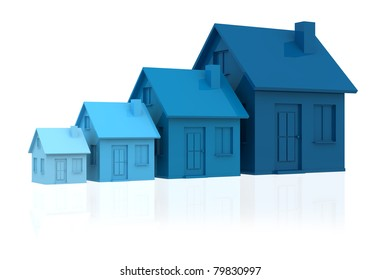 four houses. every house is greater than the previous and has a darker colour (3d render)