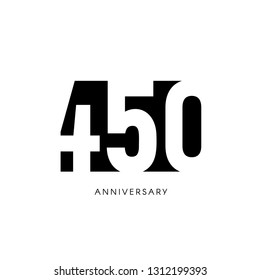 four hundred fifty anniversary, minimalistic logo. Four hundred fiftieth years, 450th jubilee, greeting card. Birthday invitation. 450 year sign. Black negative space illustration on white background