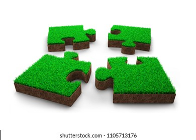 Four jigsaw puzzles made out of green grass and red soil, isolated on white background, 3D illustration.