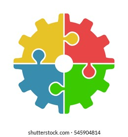 Four joined puzzle pieces of various colors forming cog isolated on white background. Teamwork, cooperation and industry concept. Flat design
