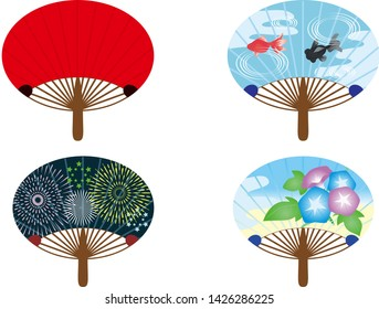 Four kinds of Japanese round fans (fireworks, red, goldfish, morning glory)