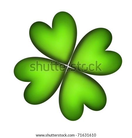 Four Leaf Clover For Good Luck Over White Background