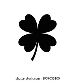 Four leaf clover icon in black. Herb Isolated on white background. St Patrick day symbol in flat style.