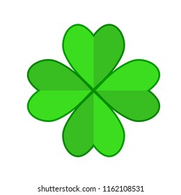Four leaf green clover hand draw. Lucky quatrefoil. Good luck symbol. Decoration for greeting cards, patches, prints for clothes, emblems