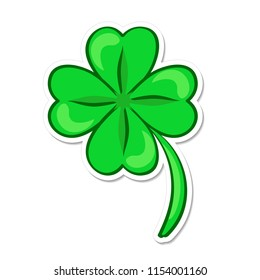 Four leaf green clover. Lucky quatrefoil. Good luck symbol. Cartoon sticker in comic style with contour. Decoration for greeting cards, patches, prints for clothes, emblems