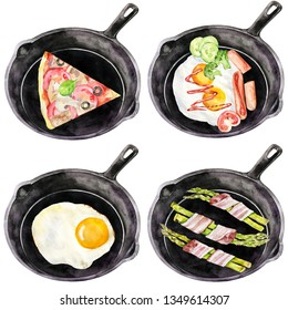 Four meals in a black pan. Hand painted watercolor food. Illustration of pizza, aspargus and fried eggs for restaurant menu.