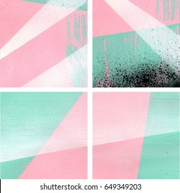 Four mint green, pink, white and black abstract backgrounds set, brush strokes, straight lines, triangle, and spray paint