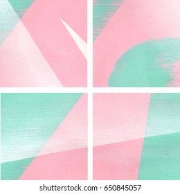 Four mint green, pink and white abstract backgrounds set, brush strokes, straight lines, triangle, and spray paint