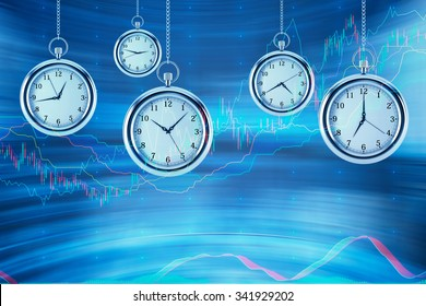 Four models of pocket watches are hovering in the air over financial graphs background. A concept of a value of time in financial markets. Forex chart. 3D rendering.