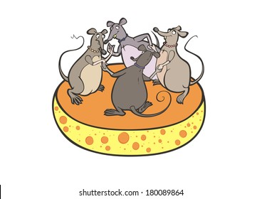 Four Mouses dancing on the Cheese