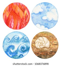 Four natural elements: fire, water, earth and air. Watercolor illustration set.