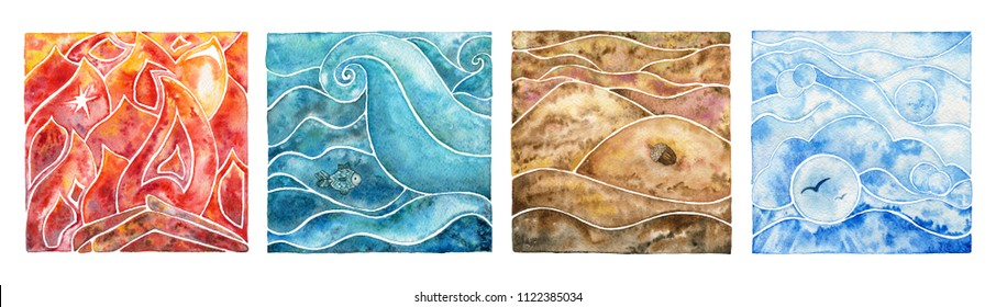 Four natural elements: fire, water, air and earth. Watercolor illustration set.